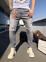 Джинсы Black Island | Серые мужские повседневные джинсы Блак Айданд | Узкие серые джинсы мужские