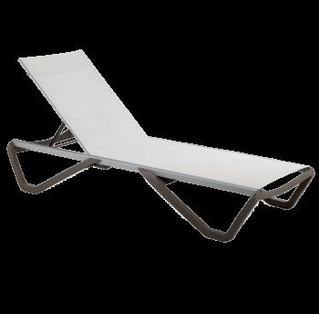 Шезлонг Papatya Wave серо-коричневый 61, сетка белая 5001