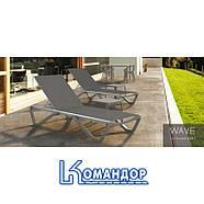 Шезлонг Papatya Wave серо-коричневый 61, сетка белая 5001, фото 8