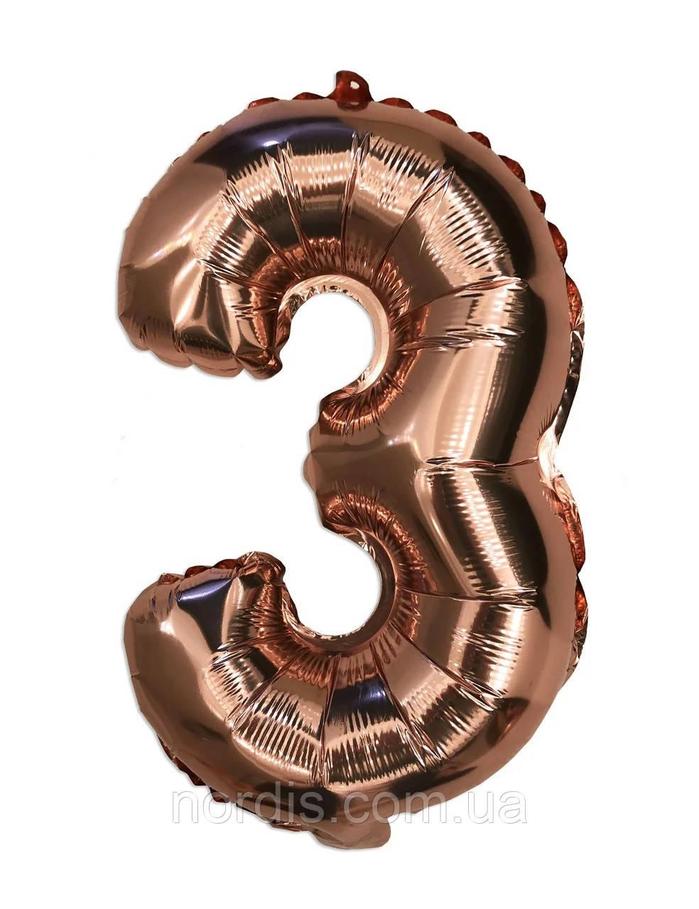 Шар цифра 3 фольгированный розовое золото 35 см.