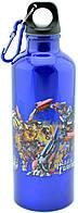 Алюминиевая бутылка с героями мультфильмов и карабином 8003-500PP (синяя)
