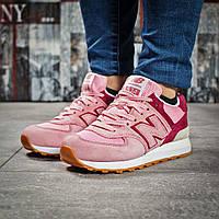 Женские кроссовки в стиле New Balance 574, замша, текстиль, пена, розовые 38 (23,8 см)