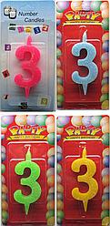 Свеча для торта №3 мультиколор Number Candles