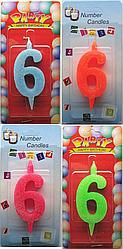 Свеча для торта №6 мультиколор Number Candles