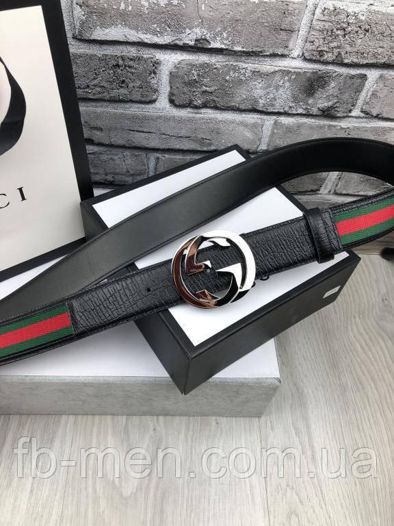 Кожаный пояс Gucci черный | Ремень Гуччи мужской серебристая пряжка | Ремень брендовый Gucci в коробке