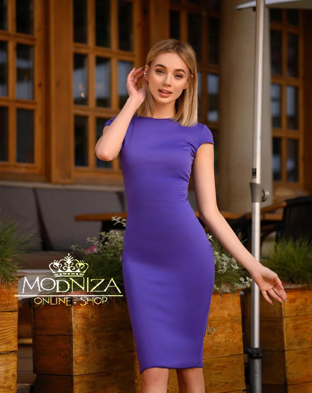 """Женское элегантное платье миди с коротким рукавом, платье-футляр,трикотажное платье """"Sofia"""" I БАТАЛ"""
