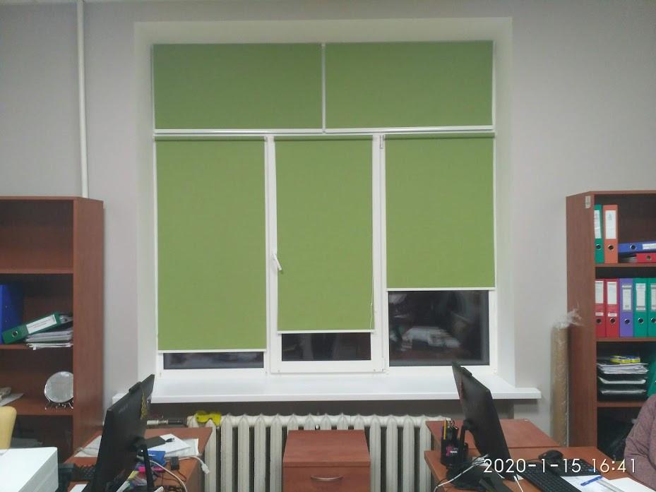 """Рулонные шторы открытого типа в административном здании ткань Ара цвет """"Зелёное яблоко"""""""