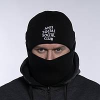 Шапка и бафф комплект мужская зимняя теплая качественная черная Anti Social Social Club, белый логотип, фото 1