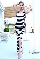 Платье майка в полоску женское летнее длинное с разрезом вискоза ЛК93055, как  на фото, С, Вискоза