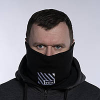 Бафф мужской зимний теплый черный качественный снуд горловик Off White (полосы), фото 1