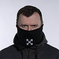 Бафф мужской зимний теплый черный качественный снуд горловик Off White (стрелки), фото 1