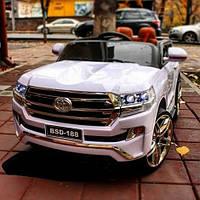 Детский электромобиль Джип M 3984 EBLR-1, Toyota, колеса EVA, кожаное сиденье, белый