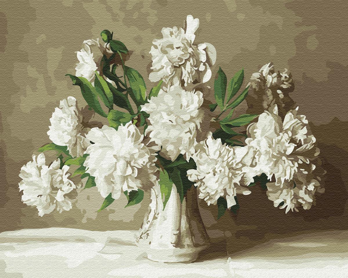 Картина по Номерам 40x50 см. Белые пионы BrushMe