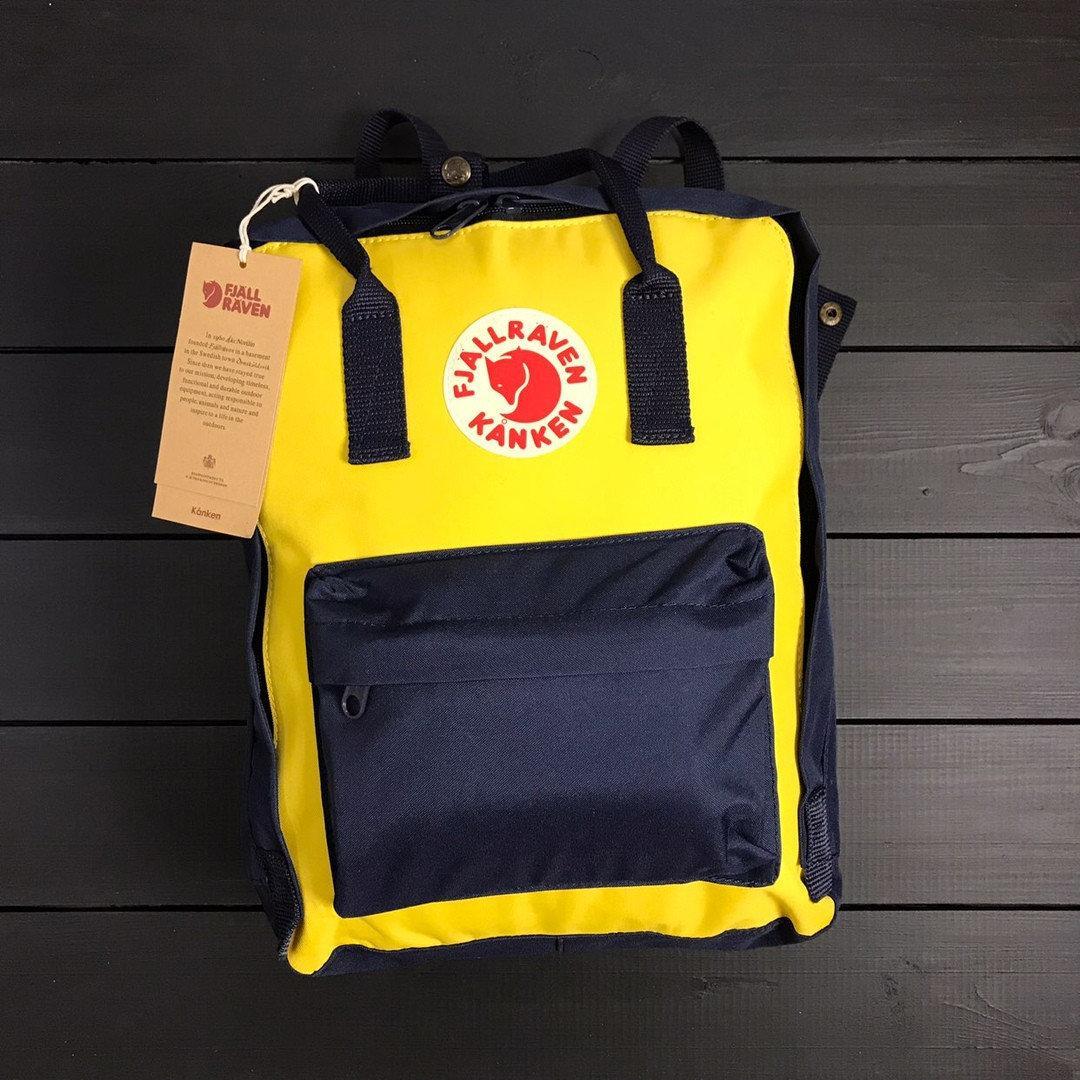 Женский желто-синий рюкзак сумка Fjallraven Kanken Classic канкен 16 л
