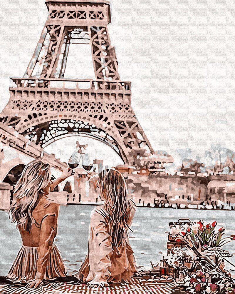 Картина по Номерам 40x50 см. С видом на Эйфелеву башню BrushMe