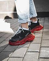 Кроссовки женские Balenciaga Triple S Red Black clear sole