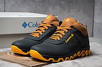 Мужские зимние ботинки на меху в стиле Columbia Track II, кожа, черные с коричневым *** 40 (26,6 см)
