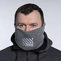 Бафф чоловічий зимовий теплий сірий якісний снуд горловик Off White (смужки), фото 1