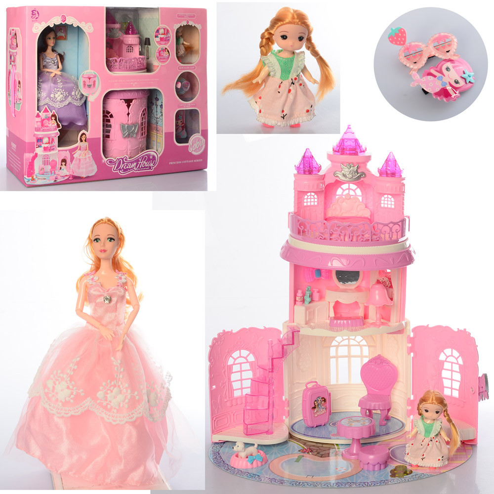 Домик-замок, кукла, дочка, очки, 599-3