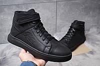 Мужские зимние ботинки на меху в стиле Hilfiger Denim, натуральная кожа, черные *** 43 (28,8 см)