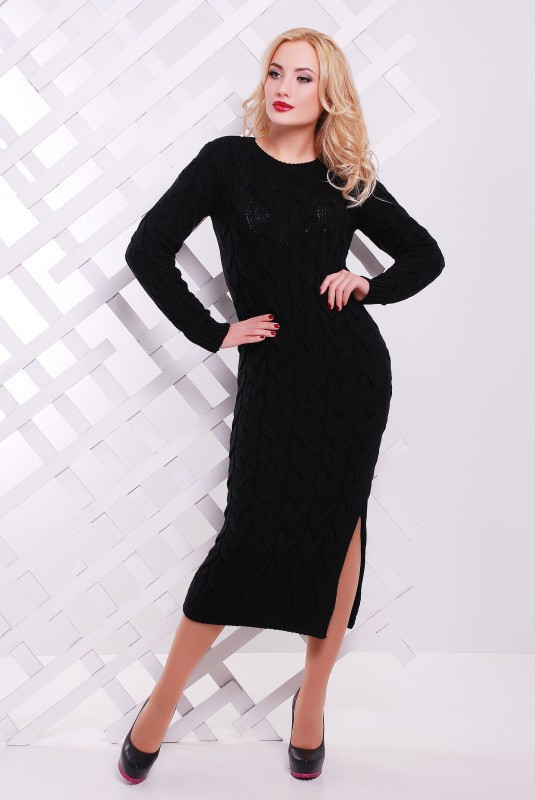 Платье женское длинное вязаное черное