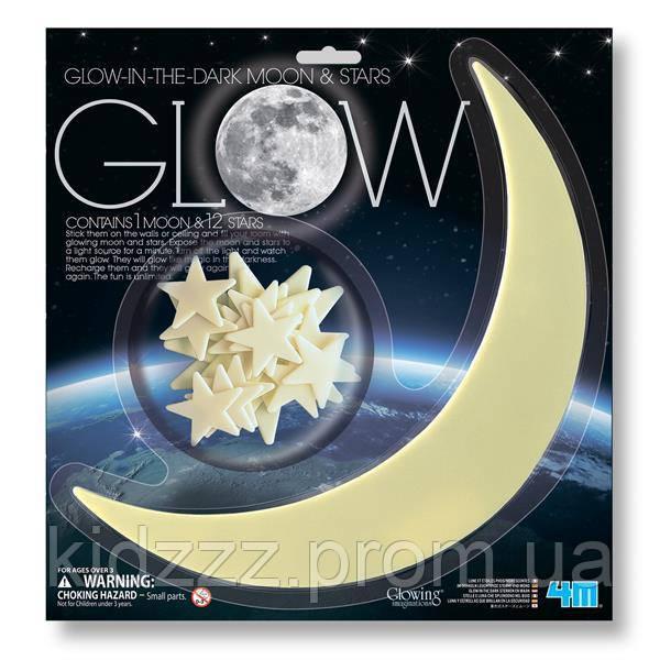Ігровий набір 4M Сяючі наклейки Місяць і зірки, 13 шт. (00-05215)
