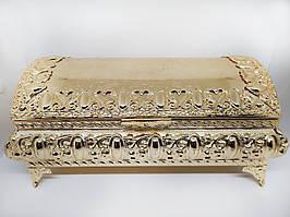 Декоративная шкатулка M Vizyon из мельхиора с позолотой большая (УЦЕНКА, есть дефекты)