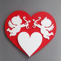 Композиция Сердце и Купидоны  из пенопласта 50 см с покраской