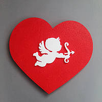 Композиция Сердце и Купидон  из пенопласта 50 см с покраской