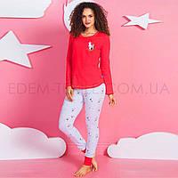 Байковая пижама для девушек Vienetta 4396, Красный, XL