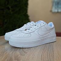 Мужские кроссовки в стиле Nike Air Force 1, кожа, белые 43 (27,5 см)