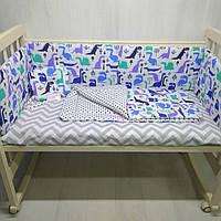 Ортопедическая подушка с одеялом и бортиками для детской кроватки Динозаврики цвет синий