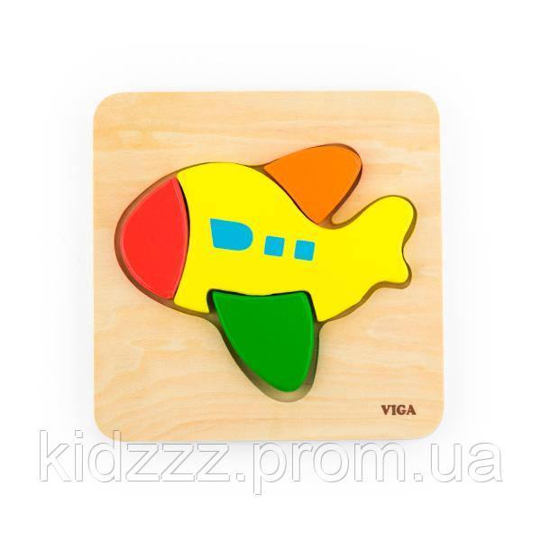 """Міні-пазл Viga Toys """"Літак"""" (50173)"""