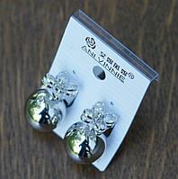 Интересные пусеты Ani Vinnie с цветком под серебро. 275