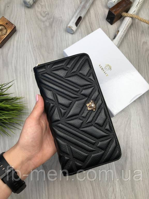 Бумажник Versace | Кошелек черный Версаче с золотой головой | Портмоне кожаное классическое Версаче  Versace