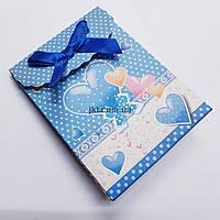 Подарочный пакет, конверт, для украшений, из картона, 10,5*7,5*4 см, разноцветный с атласным бантом