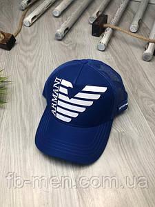 Кепка Armani | Синяя кепка Армани | Кепка с сеткой АРМАНИ | Бейсболка летняя синяя Армани