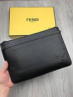 Портмоне Фенди | Папка черная кожаная Фенди | Барсетка кожаная с глазами Фенди | Папка для документов Фенди