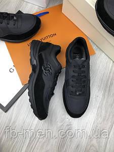 Кроссовки черные мужские Шанель | Шанель классические мужские кроссовки | Текстильные кросы шанель