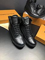 Ботинки Louis Vuitton кожаные| Мужские ботинки на меху Луи Виттон высокие |Черные зимние ботинки Louis Vuitton