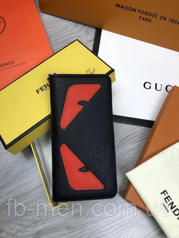 Бумажник кожаный Fendi | Кошелек Фенди | Женский мужской черный стильный органайзер Fendi | Портмоне Фенди