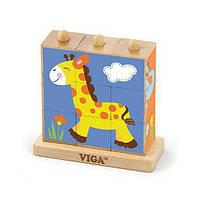"""Пазл-кубики вертикальний Viga Toys """"Сафарі"""" (50834)"""