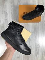 Ботинки Louis Vuitton | Ботинки черные кожаные Луи Виттон |Мужские кроссовки на меху со значками Louis Vuitton