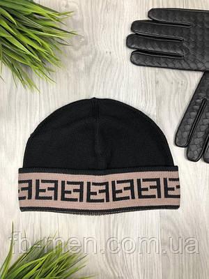 Шапка Фенди   Шапка мужская Фенди черная с коричневой окантовкой