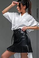 Юбка Yavorsky миди стильная крутая из эко кожи на замше Uy176