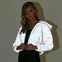 Женская короткая светоотражающая куртка пуховик с капюшоном 71mku234, фото 1