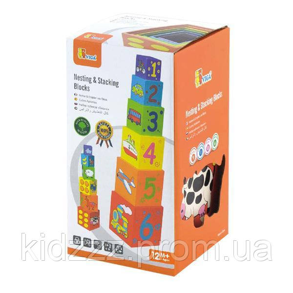 """Набір кубиків Viga Toys """"Пірамідка"""" (59461)"""