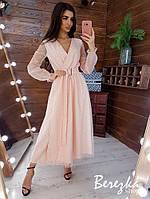 Платье длинное из сетки с блестками с расклешенной юбкой и верхом на запах 66mpl792E