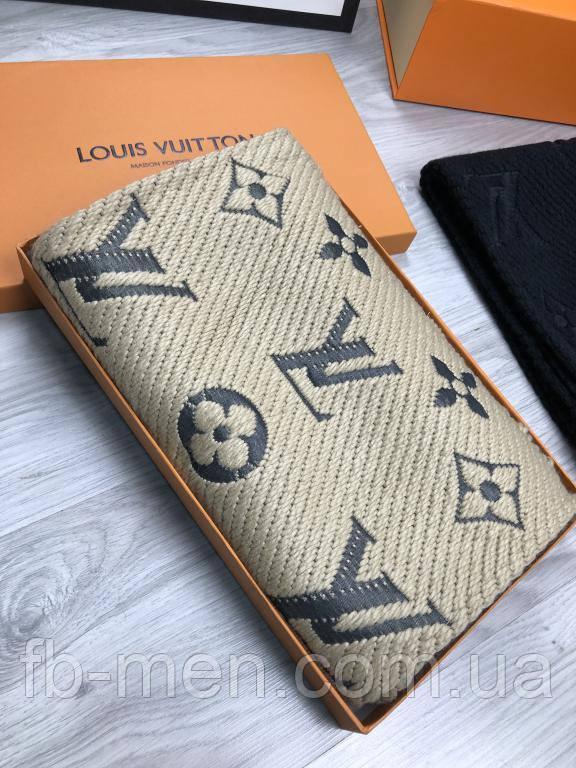 Шарф мужской Louis Vuitton   Женский бежевый шарф Луи Виттон   Шарф с логотипом Louis Vuitton   Платок LV