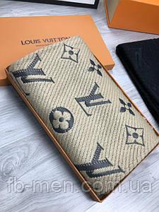 Шарф мужской Louis Vuitton | Женский бежевый шарф Луи Виттон | Шарф с логотипом Louis Vuitton | Платок LV